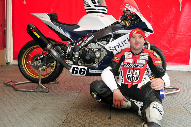 Rider Mark Buckley at the 2012 North West 200. He was tragically killed on the first lap of the race