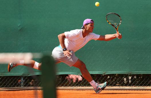MONTE-CARLO, MONACO - APRIL 15: Rafael Nadal of Spain in action during a practice session prior to his second round match during day two of the ATP Monte Carlo Masters,at Monte-Carlo Sporting Club on April 15, 2013 in Monte-Carlo, Monaco. (Photo by Clive Brunskill/Getty Images)