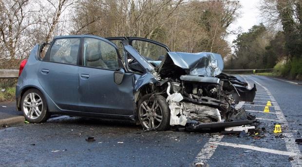One of the cars involved in a fatal collision at Burntollet Bridge outside Londonderry late on Wednesday night