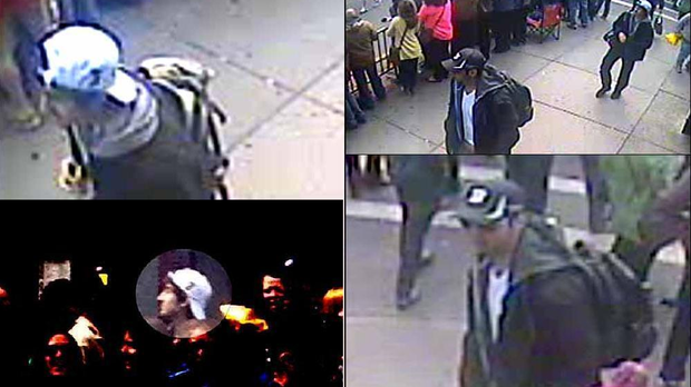The FBI has released images of two suspects in the Boston Marathon bombings which left three dead and over 170 injured