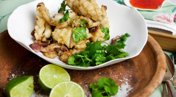 Salt and Pepper Squid with Roast Chilli Dressing