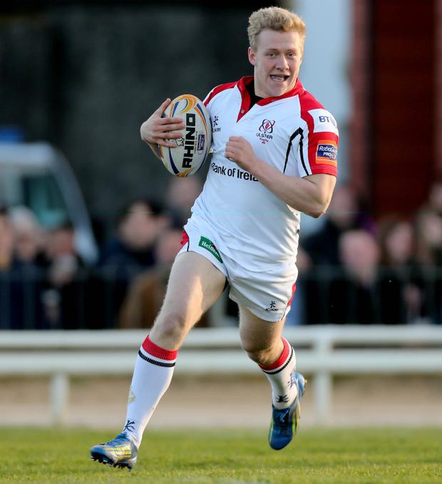 Ulster's Stuart Olding breaks free to score the opening try