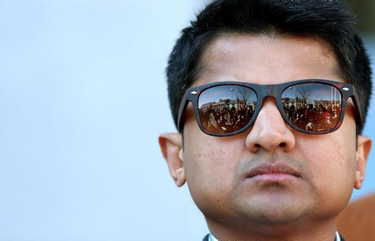Praveen Halappanavar outside Galway County Hall after the jury in his wife Savita Halappanavar's inquest returned a unanimous verdict of death by medical misadventure
