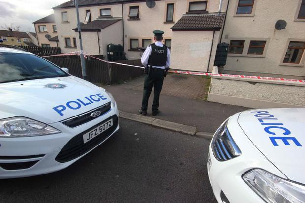 Police at the scene at Stroanshesk Park in Ballycastle were a man was fatally wounded on Sunday afternoon
