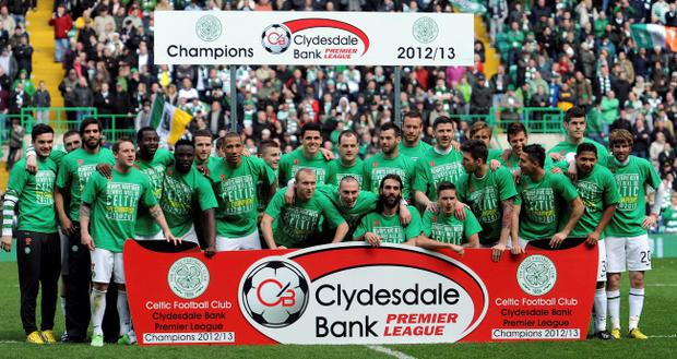 Celtic celebrates winning the during the Clydesdale Banks Scottish Premier League at Celtic Park, Glasgow
