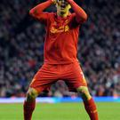 FILE - APRIL 21, 2013: Luis Suarez of Liverpool has been accused of biting opponent Branislav Ivanovic of Chelsea during today's Premier League, the latest in a sequence of controversial incidents that have marked the players career LIVERPOOL, ENGLAND - DECEMBER 01: Luis Suarez of Liverpool reacts during the Barclays Premier League match between Liverpool and Southampton at Anfield on December 1, 2012 in Liverpool, England. (Photo by Chris Brunskill/Getty Images)