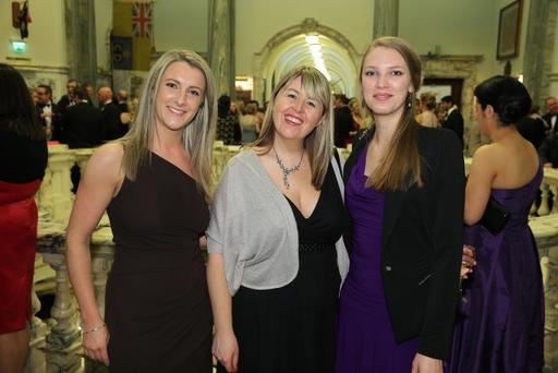 Community Relations In Schools (CRIS) Gala Dinner at Belfast City Hall. Charlotte McNaught, Kerry Kelly and Ellie Perring