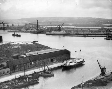Aerial of Belfast Harbour, Thompson Wharf. 12/8/1937
