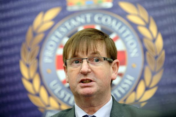 Loyalist campaigner Willie Frazer at the launch of new party the Protestant Coalition at La Mon Hotel outside Belfast