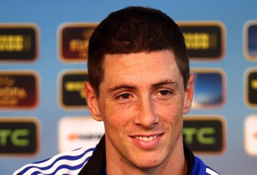 Fernando Torres of Chelsea speaks to the media during a press conference at the St. Jakob Stadium on April 24, 2013 in Basel, Switzerland