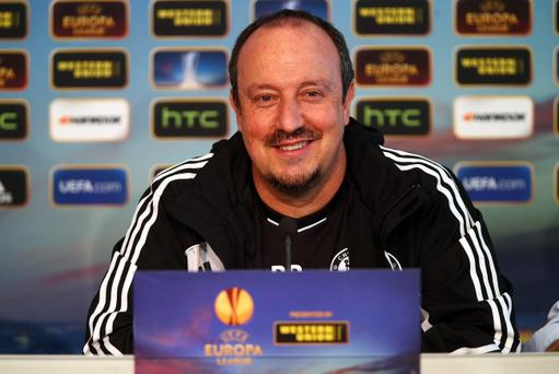 BASEL, SWITZERLAND - APRIL 24: Rafael Benitez of Chelsea speaks to the media during a press conference at the St. Jakob Stadium on April 24, 2013 in Basel, Switzerland. (Photo by Clive Rose/Getty Images)