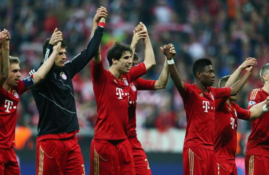 MUNICH, GERMANY - APRIL 23: Javi Martinez and David Alaba of Bayern Muenchen celebrate victory with team mates during the UEFA Champions League Semi Final First Leg match between FC Bayern Muenchen and Barcelona at Allianz Arena on April 23, 2013 in Munich, Germany. (Photo by Alex Grimm/Bongarts/Getty Images)