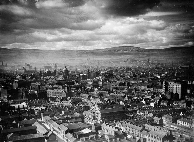 Belfast city centre, looking towards the City Hall and the hills beyond. 25/4/1939 BELFAST TELEGRAPH COLLECTION/NMNI