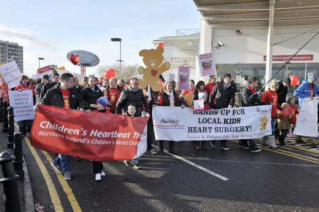 Hundreds of people gathered at the hospital in February to protest for the retention of children's heart surgery in Northern Ireland