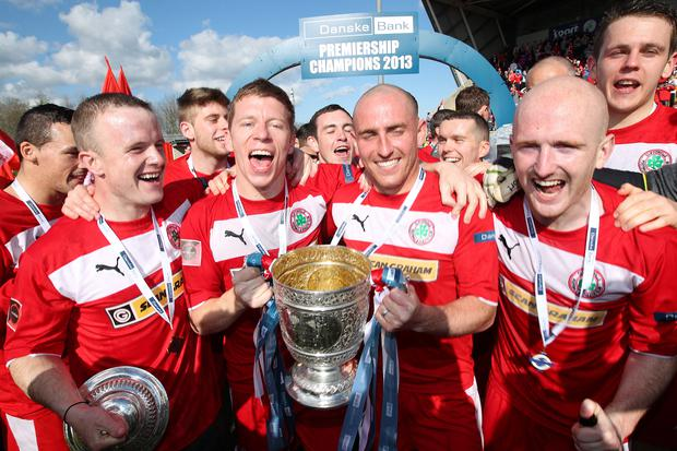 Press Eye Ltd Northern Ireland- 27th April 2013 Mandatory Credit - Brian Little/ Presseye Cliftonville celebrates winning the Danske Bank Premiership by lifting the Gibson Cup in front of their fans after Saturday's match at Solitude.