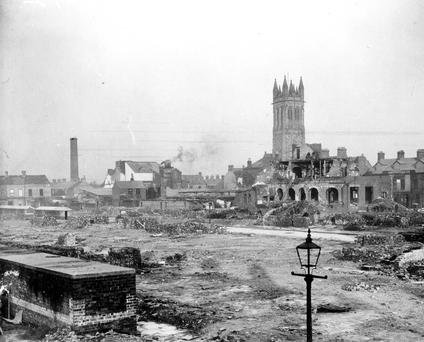 The Newtownards Road area of Belfast during the 1941 Blitz