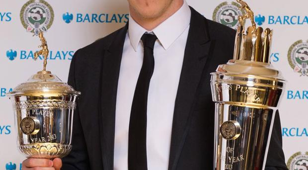 Winner of the PFA Player of the Year and Young Player of the Year, Gareth Bale during the 2013 PFA Player of the Year Awards at the Grosvenor House Hotel, London
