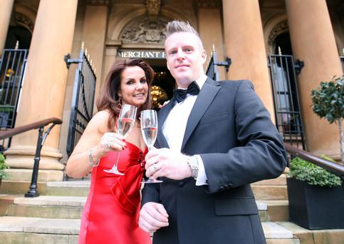 Tracy Gilligan and Mark Shortt from Optilase who became Irelands leading laser eye clinic. Optilase hosted a Celeberty VIP ball at the Merchant Hotel in Belfast on Saturday (April 27) to celebrate becoming the European leaders for Kamra Treatmen, a surgery to eliminate the need for reading glasses. Optilase introduced the Kamra treatment in August of last year and has quickly become the go-to clinic for treatment, which is exclusively available at Optilase in Northern Ireland. As a thank you to patients for helping them achieve this success, Optilase hosted the Kamra ball at the Merchant Hotel . Picture Colm O'Reilly Sunday Life.