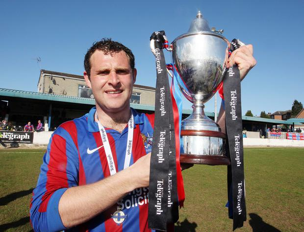 Ards captain James Cully has put in a number of heroic displays in the last few weeks to help see hi team over the line. The former Portavogie Rangers man crowned his season by lifting the league trophy on Saturday