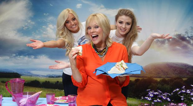 Press Eye Ltd Northern Ireland - 25th April 2013 Mandatory Credit - Picture by Darren Kidd /Presseye.com Picture shows: Television and radio presenter, Emma-Louise Johnston with Lucie McLaughlin and Deirdre O'Connor from Kingsmill at the local bread brands pop-up picnic at Castlecourt Shopping Centre.