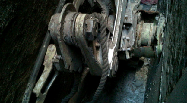 In this handout photo provided by the New York City Police Department, an apparent part from one of the commercial planes used in the September 11 attacks sits between two buildings in lower Manhattan on April 26, 2013 in New York City