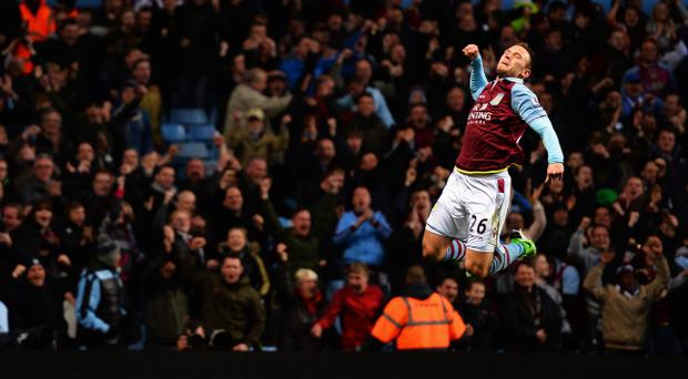 BIRMINGHAM, ENGLAND - APRIL 29: Andreas Weimann of Aston Villa celebrates as his side scores during the Barclays Premier League match between Aston Villa and Sunderland at Villa Park on April 29, 2013 in Birmingham, England. (Photo by Laurence Griffiths/Getty Images)