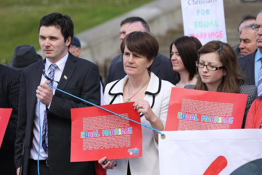 Press Eye - Belfast - Northern Ireland - Monday 29th April 2013 - Members of the Equal Marriage Northern Ireland campaign take part in a demonstration in support of a Sinn Fein motion 'Marriage Equality at the Constitutional Convention' outside Parliament Buildings at Stormont this afternoon ahead of the vote. Sinn Fein MLA Caitrona Ruane Picture by Kelvin Boyes / Press Eye
