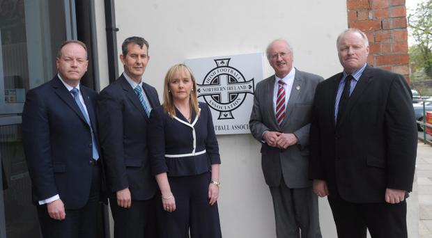 The DUP's William Humphrey, Edwin Poots , Michelle McIlveen, Jim Shannon and David Hilditch arriving to meet with representatives of the Irish Football Association on Wednesday