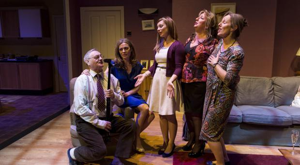 A scene from Love, Billy at the Lyric Theatre, Belfast 1 -25 May. L to R: George Shane, Maggie Hayes, Sarah Lyle, Tracey Lynch and Ger Ryan.