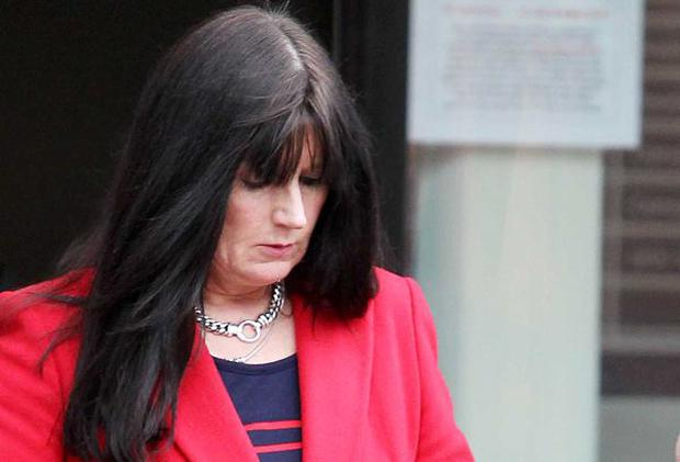 Linda Black pictured leaving the tribunal office at the Gasworks in Belfast.