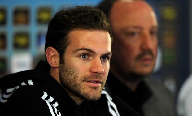 LONDON, ENGLAND - MAY 01: Juan Mata with Interim Manager Rafa Benitez talks to the media during the Chelsea Press Conference at Stamford Bridge on May 1, 2013 in London, England. (Photo by Christopher Lee/Getty Images)