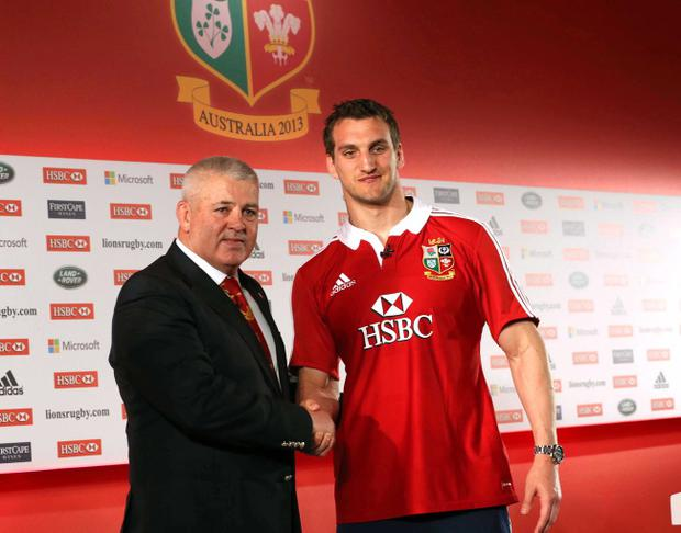 British & Irish Lions head coach Warren Gatland and captain Sam Warburton