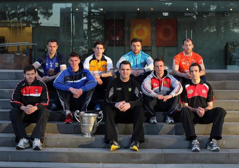Footballers, from left, Mark Lynch, Derry, Alan Clarke, Cavan, Peter O'Hanlon, Monaghan, Kevin O'Boyle, Antrim, Paul Durcan, Donegal, Ryan McCluskey, Fermanagh, Mark Poland, Down, Ciaran McKeever, Armagh, and Justin McMahon, Tyrone, pictured at the Ulster GAA Championship launch in the Ulster Museum, Belfast
