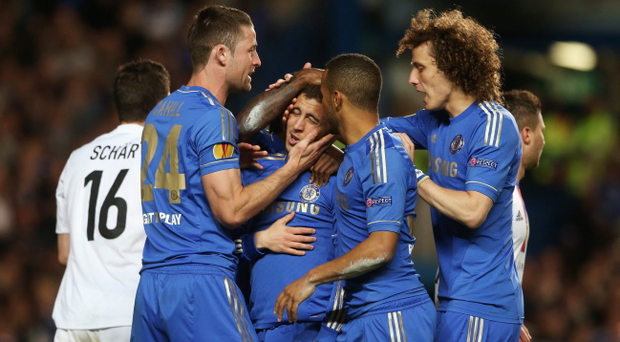 LONDON, ENGLAND - MAY 02: (L-R) Gary Cahill, Eden Hazard, Ryan Bertrand and David Luiz of Chelsea celebrate as Fernando Torres (not pictured) scores their first goal during the UEFA Europa League semi-final second leg match between Chelsea and FC Basel 1893 at Stamford Bridge on May 2, 2013 in London, England. (Photo by Scott Heavey/Getty Images)