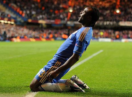 Chelsea's Victor Moses celebrates after scoring his team's second goal during the UEFA Europa League Semi Final, Second Leg at Stamford Bridge, London. PRESS ASSOCIATION Photo. Picture date: Thursday May 2, 2013. See PA story SOCCER Chelsea. Photo credit should read: Andrew Matthews/PA Wire