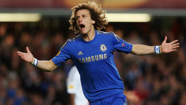 David Luiz of Chelsea celebrates as he scores their third goal during the UEFA Europa League semi-final second leg match between Chelsea and FC Basel 1893 at Stamford Bridge on May 2, 2013 in London, England