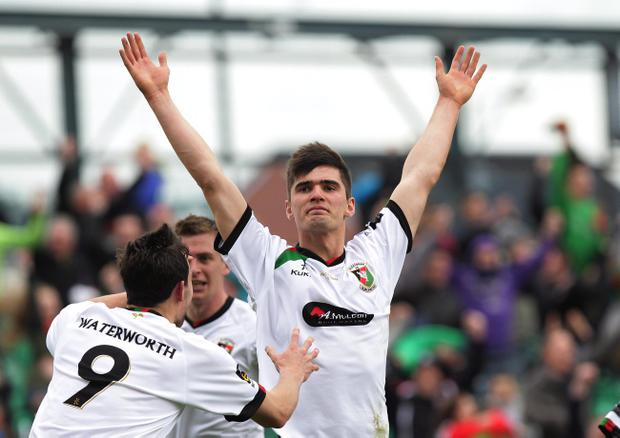 Glentoran's Jimmy Callacher celebrates scoring against Cliftonville during Saturdays Irish Cup final at Windsor Park
