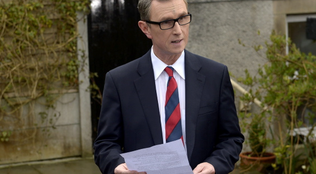 Deputy House speaker Nigel Evans gives a press statement at his home in Pendleton Lancashire, where he said today that allegations he raped one man and sexually assaulted another are