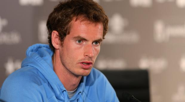 MADRID, SPAIN - MAY 05: Andy Murray of Great Britain attends a press conference during day two of the Mutua Madrid Open tennis tournament at the Caja Magica on May 5, 2013 in Madrid, Spain. (Photo by Julian Finney/Getty Images)