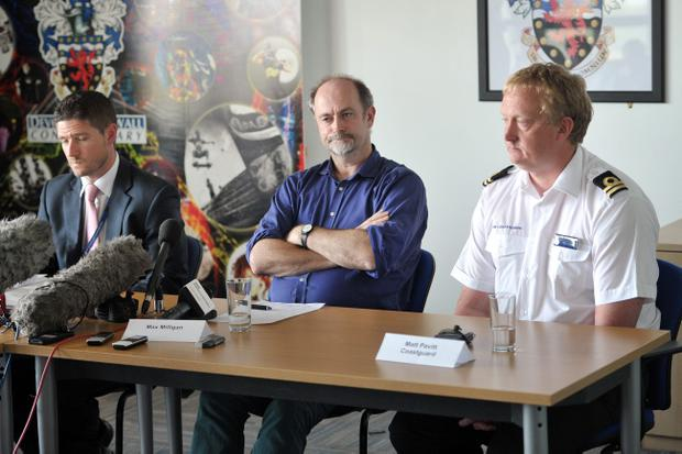 Detective Superintendent Jim Colwell (left), Coastguard representative Matt Pavitt (right), and Max Milligan, the brother of Nick Milligan, 51, who was killed in a speedboat accident in the Camel Estuary near Padstow, Cornwall, during a press conference at Bodmin Police station