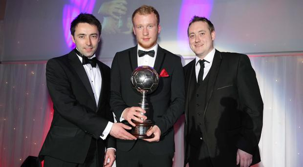 Press Eye - Belfast - Northern Ireland - 6th May 2012 - Northern Ireland Football Writers Awards at the Ramada Hotel in Belfast Footballer of the Year ? sponsored by BT Sport. BT Sport's Conal Duffy (Consumer Director) and Mark McIntosh present Liam Boyce with the Footballer of the Year award Picture by Kelvin Boyes / Press Eye