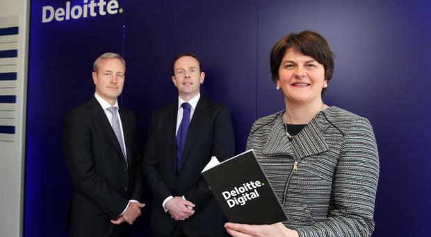 Enterprise minister Arlene Foster at Deloitte's announcement of 177 new jobs at its Belfast Technology Studio in May 2013