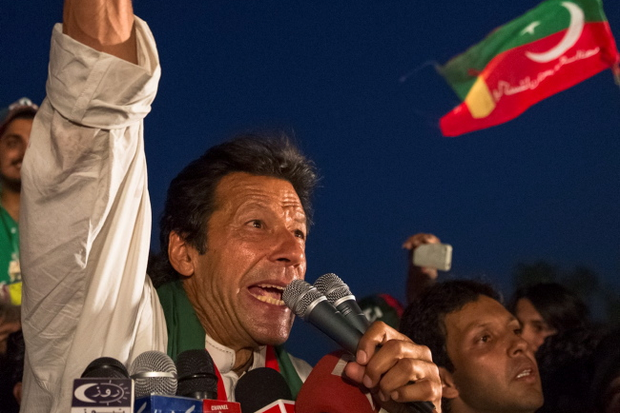 Imran Khan addresses supporters during an election campaign rally this week
