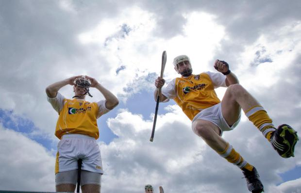 Antrim captain Neil McManus (left) and Arron Graffin in Cusack Park