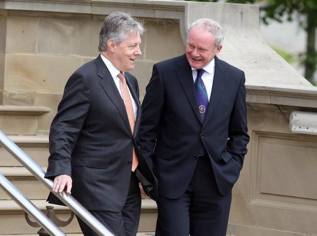 First Minister Peter Robinson and deputy First Minister Martin McGuinness at Stormont Castle
