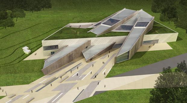 Artist's impression of how the Peace Building and Conflict Resolution Centre at the Maze near Lisburn will look
