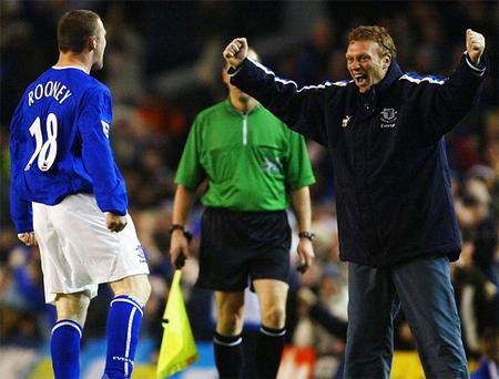 Wayne Rooney at Everton with manager David Moyes