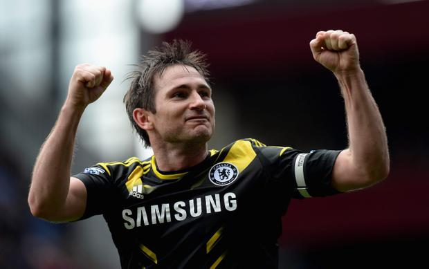 BIRMINGHAM, ENGLAND - MAY 11: Frank Lampard of Chelsea celebrates scoring his team's second goal during Barclays Premier League match between Aston Villa and Chelsea at Villa Park on May 11, 2013 in Birmingham, England. (Photo by Gareth Copley/Getty Images)