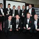 Press Eye - Belfast - Northern Ireland - 6th May 2012 - Northern Ireland Football Writers Awards at the Ramada Hotel in Belfast Michael O'Neill with the BELLEEK TEAM OF THE SEASON Conor Devlin, George McMullan, Marc Smyth, David Magowan, Craig McClean, Barry Johnston, Ryan Catney, Declan Caddell, Paul Heatley, Liam Boyce and Joe Gormley. Picture by Kelvin Boyes / Press Eye