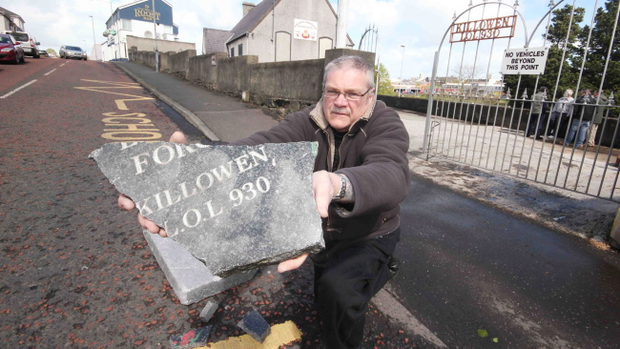David Mc Ilreavy, caretaker of Killowen Memorial Orange Hall in Coleraine with the smashed part of a memorial stone was found in the middle of the road